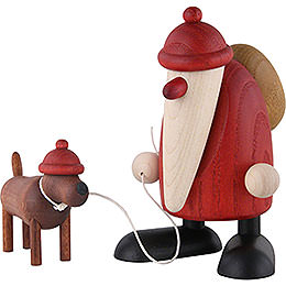 Santa Claus with Dachshound Waldemar  -  9cm / 3.5 inch