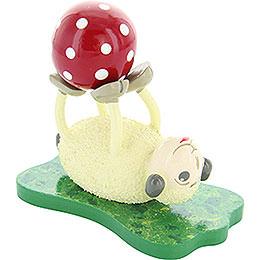 """Schaf """"Rolli"""", liegend mit Ball  -  6,5cm"""