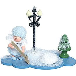 Schneeflöckchen mit Schneeschippe  -  8cm