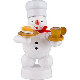 Schneemann Bäcker mit Kaffee und Kuchen  -  8cm