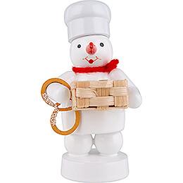 Schneemann Bäcker mit Korb und Brezel  -  8cm