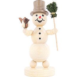 Schneemann mit Besen und Vogel  -  12cm