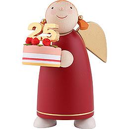 Schutzengel mit Torte, rot  -  8cm