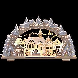 Schwibbogen Adventszeit verschneit mit Schlittenkind und Hund  -  53x31x4,5cm