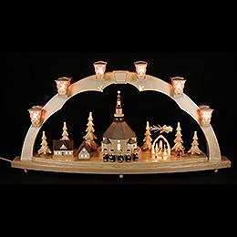 Schwibbogen Seiffener Kirche mit Pyramide 40x80cm
