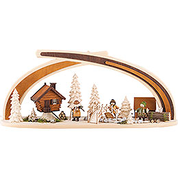 Schwibbogen aus Massivholz am Bach  -  59x30cm