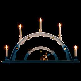 Schwibbogen mit Engel an der Zither und elektrischer Beleuchtung  -  55x32cm