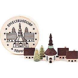 Seiffen Village in Wood Chip Box  -  4cm / 1.6 inch