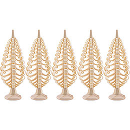 Seiffen Wood Chip Tree Set of 5  -  8cm / 3.1 inch
