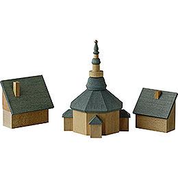 Seiffener Kirche mit Häusern  -  11cm