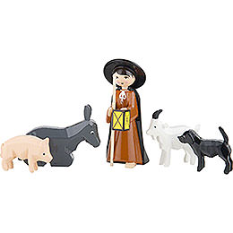 Shepherd with Animals, Set of Five, Colored  -  7cm / 2.8 inch