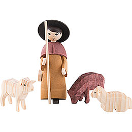 Shepherd with Three Sheep, Stained  -  7cm / 2.8 inch