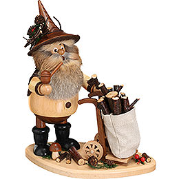 Smoker  -  Gnome with Hand Cart  -  25cm / 9.8 inch