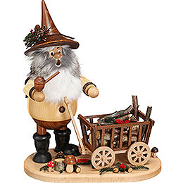Smoker  -  Gnome with Hand Wagon  -  25cm / 9.8 inch