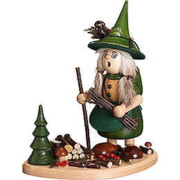 Smoker  -  Lady Gnome on Board, Green  -  25cm / 10 inch