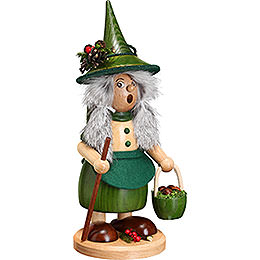 Smoker  -  Lady Gnome with Mushroom Bucket, Green  -  25cm / 10 inch