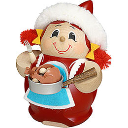 Smoker  -  Mrs. Santa with Goose  -  Ball Figure  -  12cm / 5 inch