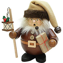 Smoker  -  Santa with Lantern Natural Wood  -  15,5cm / 6 inch