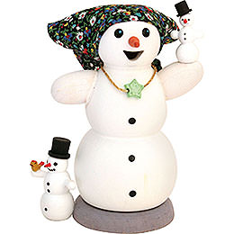 Smoker  -  Snow Woman with Two Children  -  13cm / 5.1 inch