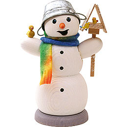 Smoker  -  Snowman with Bird House and Bird  -  13cm / 5.1 inch