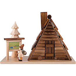 "Smoking Hut  -  House ""Refuge Hut"" with Figure  -  12x18cm / 4.7x7 inch"