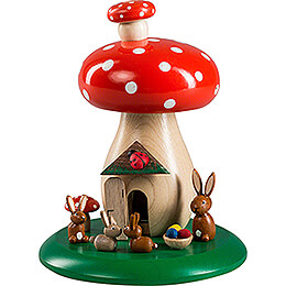 Smoking Hut  -  Toadstool with Bunnies  -  13cm / 5.1 inch