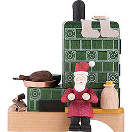 Smoking Stove with Santa  -  13cm / 5.1 inch