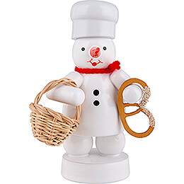 Snowman Baker with Bun Basket and Pretzel  -  8cm / 3.1 inch