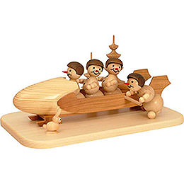 Snowman Four - Man Bobsled with Anschieber with Helmet  -  13cm / 5.1 inch