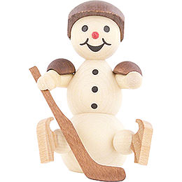 Snowman Ice Hockey Player sitting Helmet  -  8cm / 3.1 inch
