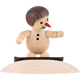 "Snowman  -  Junior ""on snowdrift"" with helmet  -  8cm / 3.1 inch"