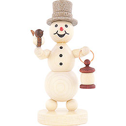 Snowman with Lantern and Bird  -  12cm / 4.7 inch