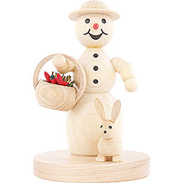 Snowwoman with Basket and Hare  -  11cm / 4.3 inch