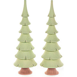 Solid Wood Trees  -  Bright Green  -  2 pieces  -  14,5cm / 5.7 inch