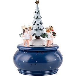 Spieldose  -  Adventengel mit Baum  -  22cm