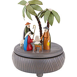 Spieldose Christi Geburt  -  grau  -  18cm