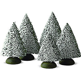 Spruce Tree with Snow, Set of Five  -  8cm / 3.1 inch
