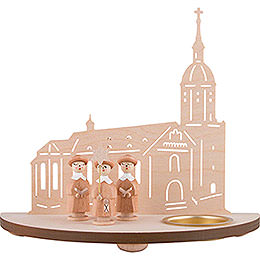 Tea Light Holder  -  Annaberg Church with Carolers  -  Natural  -  16cm / 6.3 inch