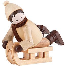Thiel Figurine  -  Bobsleigh Rider lying  -  natural  -  5cm / 2 inch