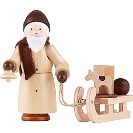 Thiel Figurine  -  Santa Claus with Sled  -  natural  -  6cm / 2.4 inch
