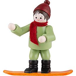Thiel Figurine  -  Winter Child with Snowboard  -  coloured  -  6,5cm / 2.6 inch