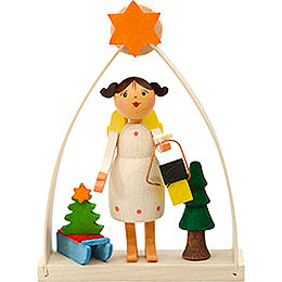 Tree Ornament  -  Angel in Arch with Lantern  -  8cm / 3.1 inch
