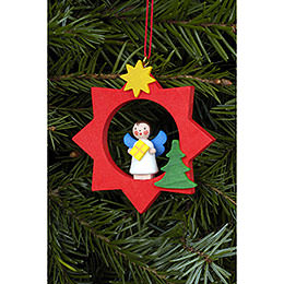 Tree Ornament  -  Angel in Red Star  -  6,0x6,0cm / 2x2 inch