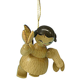 Tree Ornament  -  Angel with Castanet  -  Natural Colors  -  Floating  -  5,5cm / 2,1 inch
