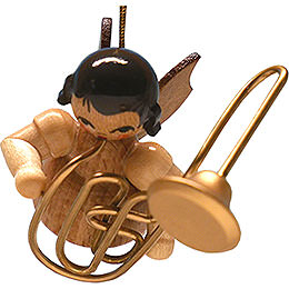Tree Ornament  -  Angel with Contrabass Trombone  -  Natural -  Floating  -  5,5cm / 2.2 inch