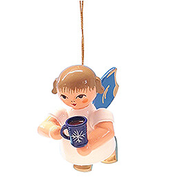 Tree Ornament  -  Angel with Cup of Mulled Wine  -  Blue Wings  -  Floating  -  5,5cm / 2.2 inch