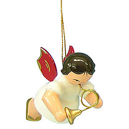 Tree Ornament  -  Angel with French Horn  -  Red Wings  -  Floating  -  5,5cm / 2,1 inch