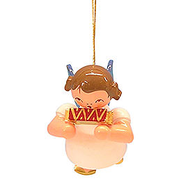 Tree Ornament  -  Angel with Harmonica  -  Blue Wings  -  Floating  -  5,5cm / 2,1 inch
