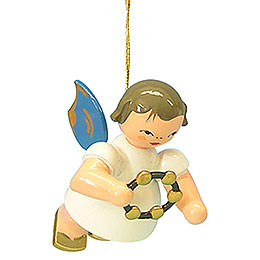 Tree Ornament  -  Angel with Jingle Ring  -  Blue Wings  -  Floating  -  5,5cm / 2,1 inch