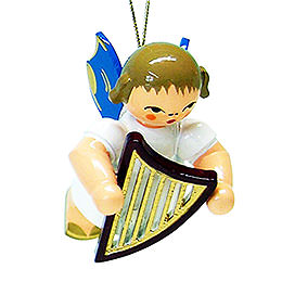 Tree Ornament  -  Angel with Lyre  -  Blue Wings  -  Floating  -  5,5cm / 2.1 inch